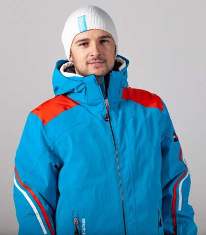 men's ski jacket orange-blue