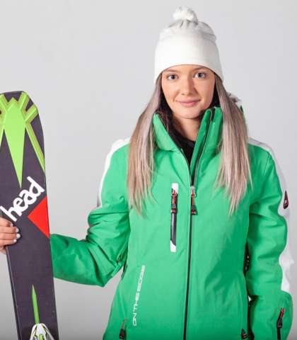 womens ski jacket green
