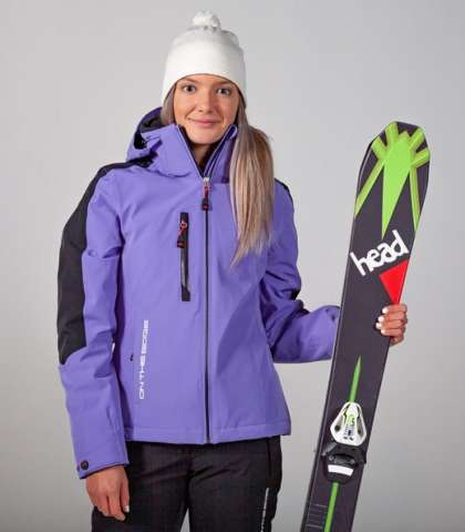 women's ski jacket on the edge - purple